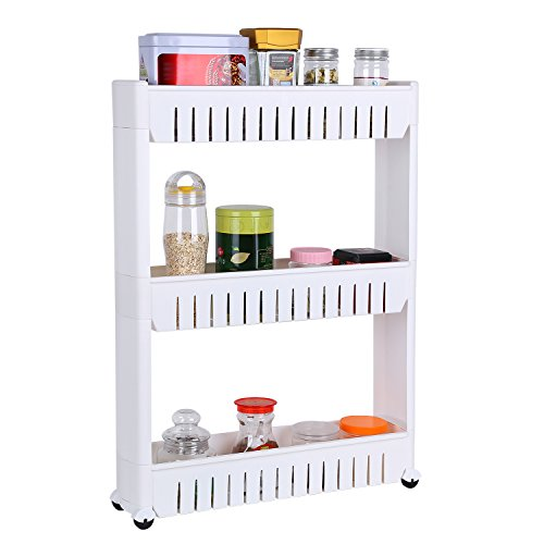 Homfa Gap Storage Slim Slide Out Tower Rack She...