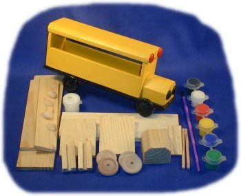 Brandine Wood Kits (School Bus Wood Craft Kit with Paint, Glue and Brush)