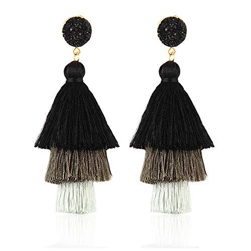 Tassel Earrings - Handmade Tiered Thread Tassel Dangle Earrings, Girls (Drusy Drop Quartz)