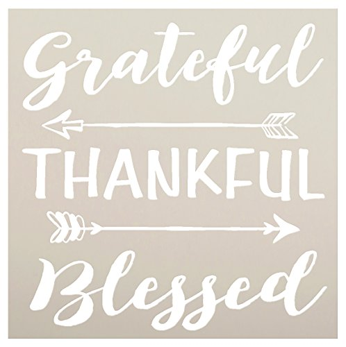 Grateful Thankful Blessed Stencil with Arrows by StudioR12 | Reusable Word Template for Painting on Wood | DIY Home Decor | Thanksgiving Signs | Fall and Autumn | Mixed Media |Select Size (15