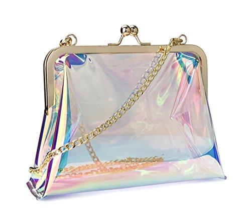 Hoxis Clear Transparent PVC Kiss Lock Chain Cross Body Bag Womens Clutch (Hologram)