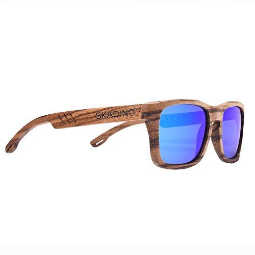 SKADINO Wood Sunglasses with Polarized Lenses-Handmade Floating Skateboard Wooden Shades for Men & Women-Brown Giraffe
