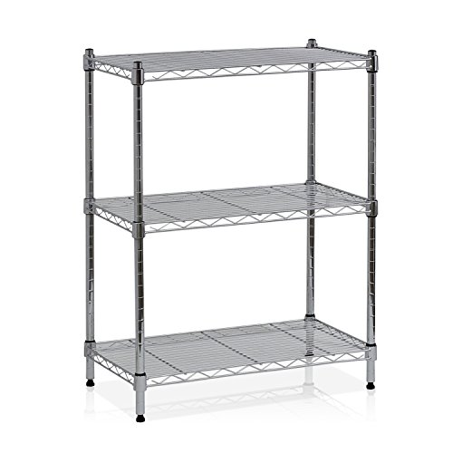 - Furinno WS15001 Wayar Heavy Duty Wire Shelving System, 3-Tier, Chrome