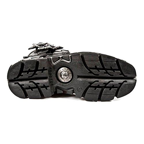 NEWROCK New Rock 407Argent Croix de coffre noir gothique Biker cuir Bottes