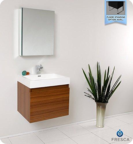 Fresca Bath FVN8006TK Nano Vanity with Medicine Cabinet, Teak