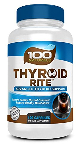 100 Naturals Thyroid Supplement (120 Caps) Support Healthy Thyroid Function and Metabolism, Vitamin B12, Iodine, Zinc, Selenium, Ashwagandha Root, Copper, Coleus Forskohlii & more - 60 Day (Selenium Thyroid Function)