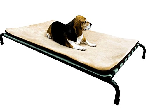 Premium Heavy Duty Metal Elevated Pet Bed with Textilene Fabric with Waterproof Memory Foam Beige Color Mat Topper for Medium to Large Dog 42