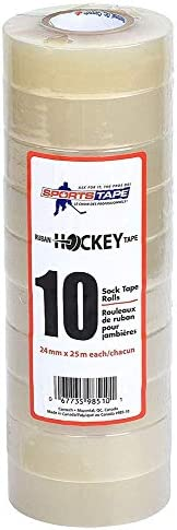 Sports Tape SportsTape Clear Hockey Tape - for Socks and Gear, Easy to Stretch and Tear (10 Pack), One Size