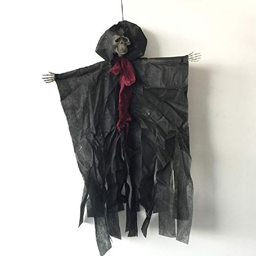 Halloween Scary Hanging Pirate Witch Prisoner Reaper Ghost Haunted House Escape Horror Halloween Skeleton Decorations with Chain Ugly Zombie Spooky Ghost Prop - 24 inch 5 Different Types]()