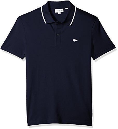 Lacoste Men's Short Sleeve Semi Fancy Stretch Pique Slim Polo, PH3155, Navy Blue/White, Medium
