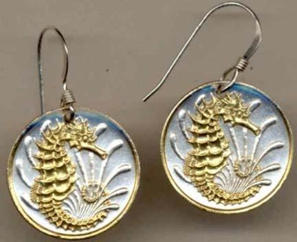 Sea HorseÓ Two Tone Coin Earrings ()