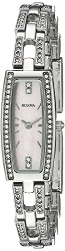 Bulova Women's 96L208 Crystal Analog Display Quartz Silver Watch Bulova Ladies Crystal Bezel