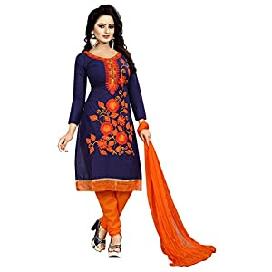 Alazra Creation Women's Cotton & Chiffon Unstitched Salwar Suit