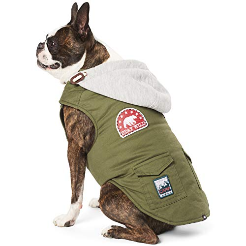 (Hotel Doggy Canvas Utility Vest with Fleece Hood Dog Jacket - Green Polyster Wool Dog Coat X Small)
