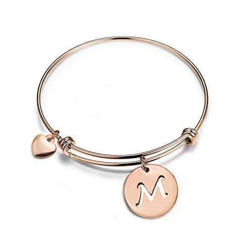 (Zuo Bao Rose Gold Initial Disc Expandable Wire Bracelet Bangle with Heart Charm (M))