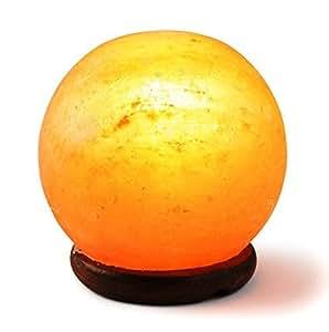 HemingWeigh Wood Base Rock Salt Sphere Lamp 14-15 cm Wood Base, Electric Wire