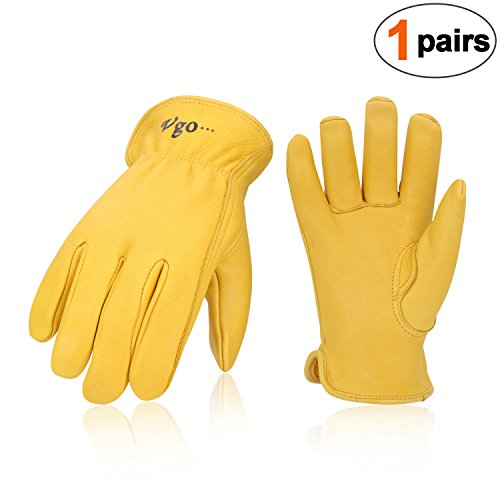 Vgo Unlined Pro Grade Collection Premium Grain Deerskin Work and Driver Gloves (1Pair,Size XL,Gold,DA9501) -