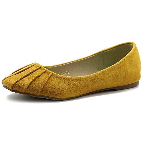 Ollio Chaussures De Ballet Pour Femmes Confort Faux Daim Plat Moutarde