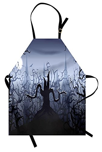 Lunarable Halloween Apron, Misty Dark Forest Swirling Twiggy Spooky Branch Nature Trick or Treat Halloween, Unisex Kitchen Bib Apron with Adjustable Neck for Cooking Baking Gardening, Grey Black -