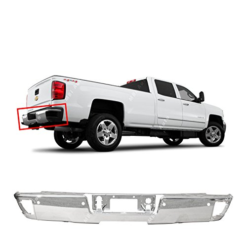 Steel Trucks Bumpers (MBI AUTO - Steel Chrome, Rear Step Bumper Face Bar for 2014 2015 2016 2017 2018 Chevy Silverado & GMC Sierra W/Park, GM1102557)