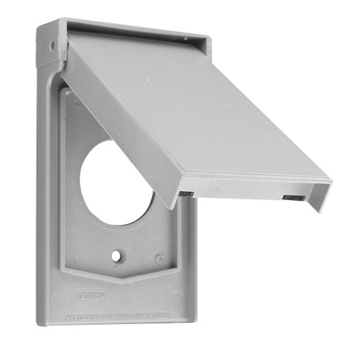 Leviton 4980-GY 1-Gang Single 20A or 30A Locking Receptacle Wallplate Cover, Weather Resistant Thermoplastic, Device Mount, Vertical, ()
