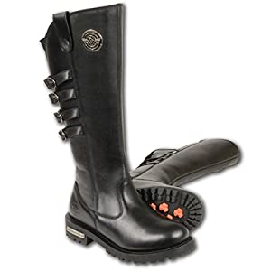 Milwaukee Leather Womens 15in High Rise Leather Riding Boots with Four Calf Buc - 7