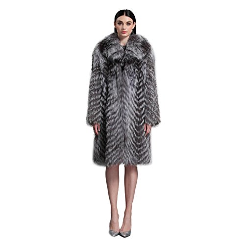 Fur Story Women's Long Real Silver Fox Fur Coat with Fox Fur Collar Thick Warm Coat Full Sleeve