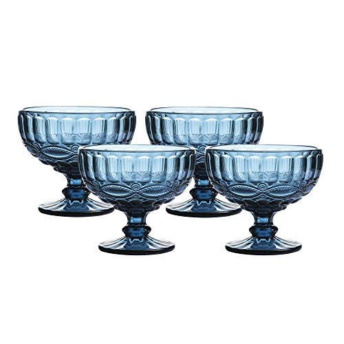 12 Ounce Glass Ice Cream Cups- Glass Dessert Bowls - Set of 4 Trifle/Fruit/Salad cocktail glass,Solid Glass Color (Blue) ()