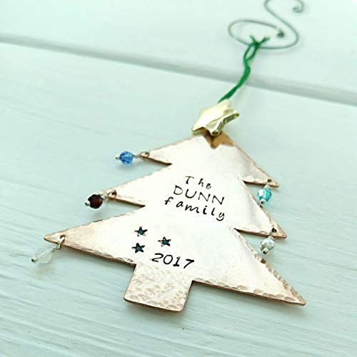 2018 Christmas Tree Ornament - Personalized with Birthstones - Hand Stamped Gift for Family
