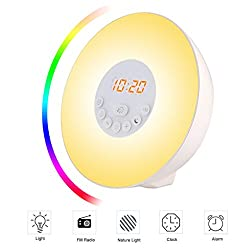 SIEGES Wake Up Light Alarm Clock, Sunrise Simulation Dusk Fading Night Light with Nature Sounds, FM Radio, Touch Control and USB Charger