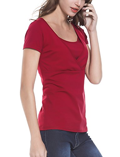 Women's Nursing Top Short Sleeve Shirt Cotton Doubled Layered Vneck Breastfeeding Clothes Red S