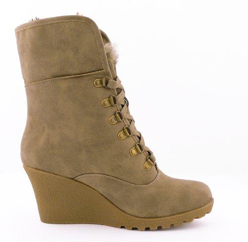 dd9ddc8bb507f7 best-boots Damen Boots Fell Stiefel Keilabsatz Stiefelette gefüttert Winter  Khaki 442 Größe 39  Amazon.de  Schuhe   Handtaschen