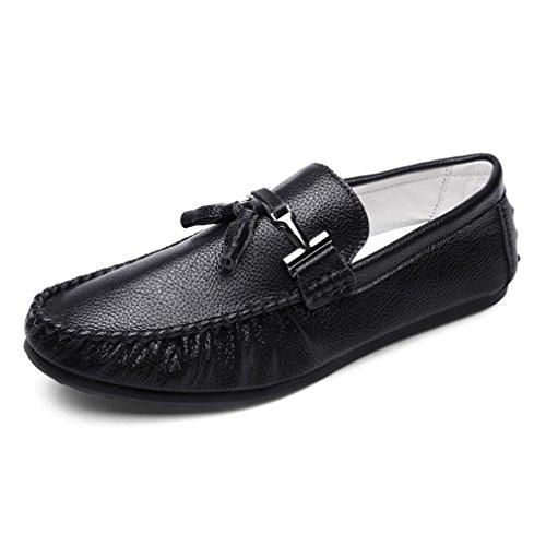 ocasionales hombres conducción borla Black blanco de lujo cuero los mocasines hombre Men de para Loafers hombres zapatos para de moda Zapatos de de Bridfa xtqI6CI