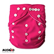 Reusable and Washable Pocket Baby Cloth Diaper Nappy by Moshiko (1 Diaper Cover + 1 FREE Insert) - All in One Size with Adjustable Snaps Fits Babies from Newborn thru Toddlers!