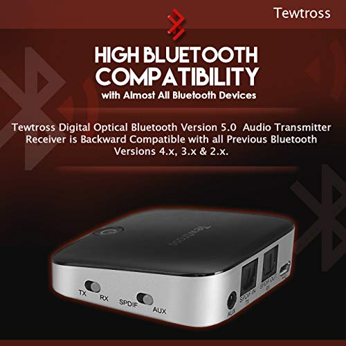 Tewtross Bluetooth 5 0 Transmitter and Receiver Digital Optical SPDIF  TOSLINK and 3 5mm Aux RCA Wireless Audio Adapter for TV/Home Stereo System