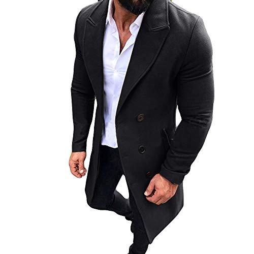 Coat Plush Dog (New Winter Men Slim Stylish Trench Coat Double Breasted Long Jacket Parka (XXL, Z-Black))