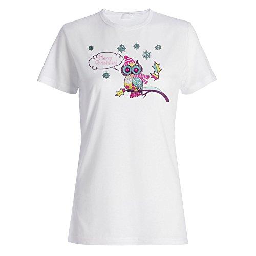 Neue Niedliche Weihnachtseule Damen T-shirt l531f