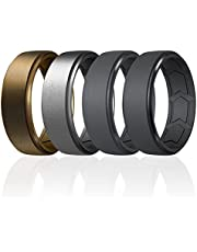 ROQ Breathable Silicone Wedding Bands for Men - Step Beveled Edge Design Silicone Ring with Inner Arrow Shape Grooves for Enhanced Breathability - Classic Thin Mens Silicone Rubber Wedding Ring