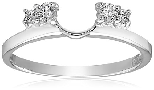 14k White Gold Round Diamond Solitaire Engagement Ring Enhancer (1/5 carat, H-I Color, I1-I2 Clarity), Size 7 by Amazon Collection