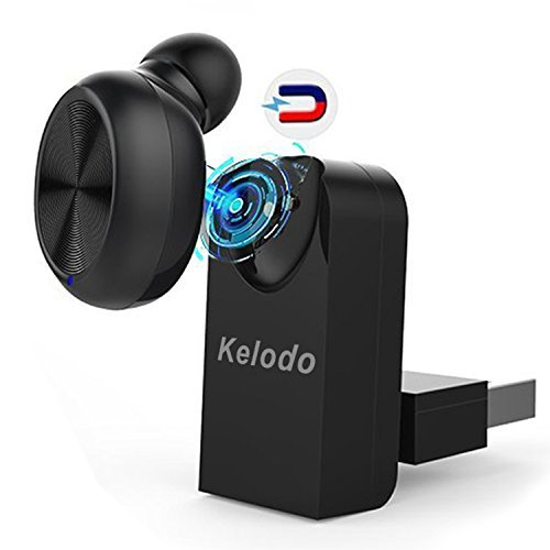 Bluetooth Earbud Magnetic USB Dock Earphone Kelodo X17 Wireless Mini Headset Plus Car Mount 6 Hours Playtime in Ear Handsfree w/Mic for iPhone 8/7S Samsung Android Music and Phone Calls (1 Piece)