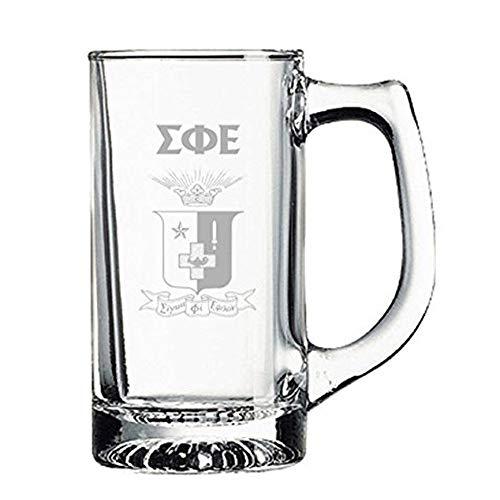 (Greekgear Sigma Phi Epsilon SigEp Glass Engraved Mug Transparent)