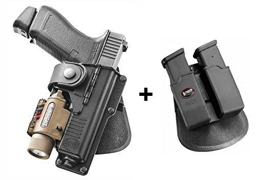 Fobus verdeckte Trage Pistolenhalfter Mit Haltegurt Halfter Holster + 6900 Doppel magazintasche für Glock 17,22 Mit Taktischem Zubehör / S&W M&P 9mm Smith und Wesson / Walther P99Q