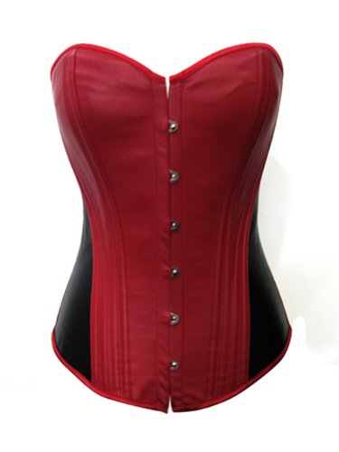 Corset Patent Black - Chicastic Red & Black Faux Patent Leather Sexy Goth Punk Strong Boned Corset Lace Up Bustier - Large