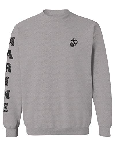 Black Seal Marine Corp Logo USMC United States of America American Men's Crewneck Sweatshirt (Light Gray X-Large)