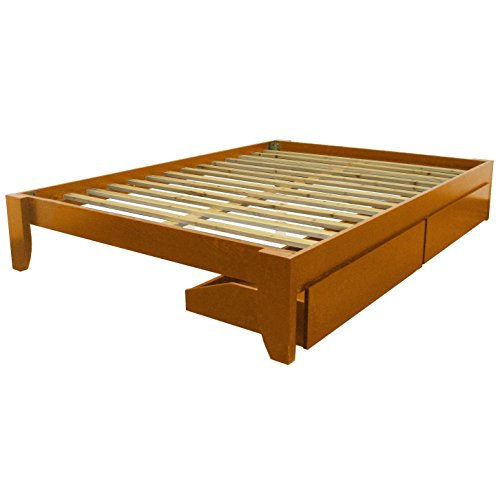 Epic Furnishings Scandinavia Queen-Size Solid Bamboo Wood Platform Bed Medium Oak Frame Finish Oak Finish, Lacquer