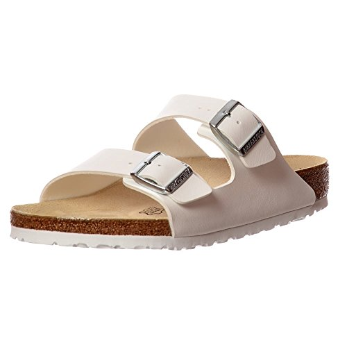 Birkenstock Unisex Arizona Leather Sandals, Shiny White