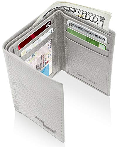 - Trifold Wallets For Men RFID - Genuine Leather Slim Mens Wallet With ID Window Front Pocket Wallet Gifts For Men