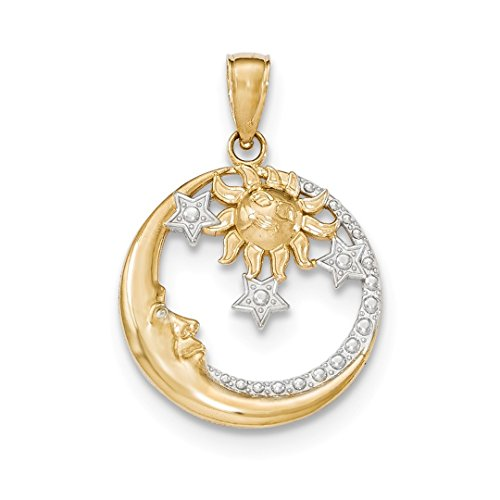 ICE CARATS 14k Yellow Gold Moon Stars Sun Pendant Charm Necklace Celestial Fine Jewelry Ideal Mothers Day Gifts For Mom Women Gift Set From Heart (14k Sun Charm Yellow Gold)