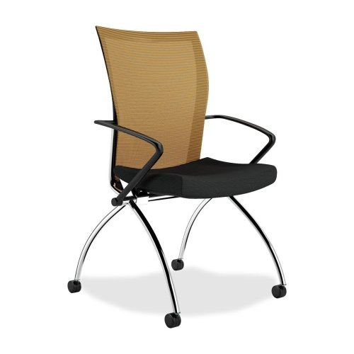 Mayline Valore TSH1 High Back Chair with Arms - Fabric Orange Seat - Chrome Black Frame - 23