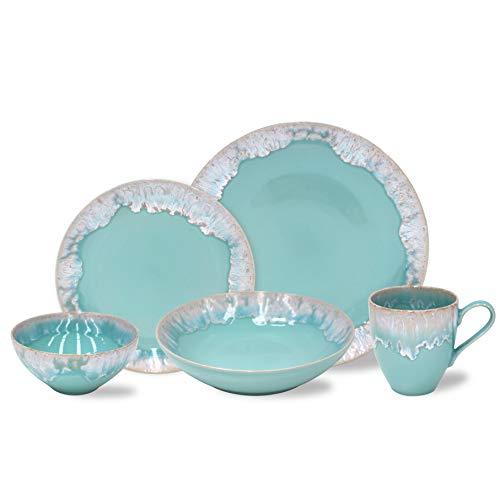 Casafina Taormina Collection Stoneware Ceramic 5-Piece Place Setting (Service for 1), Aqua